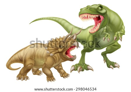 T Rex Versus Triceratops illustration with a tyrannosaurs rex attacking a triceratops dinosaur - stock vector
