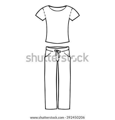 Tshirt Pants Comfortable Home Clothes Contour Stock Vector ...