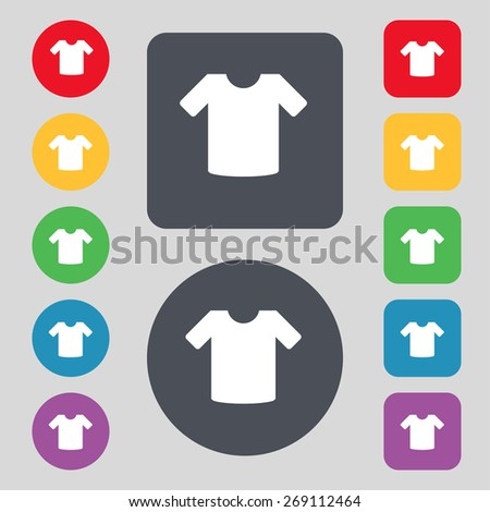 T-shirt, Clothes icon sign. A set of 12 colored buttons. Flat design. Vector illustration - stock vector