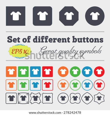 T-shirt, Clothes  icon sign Big set of colorful, diverse, high-quality buttons. Vector illustration - stock vector