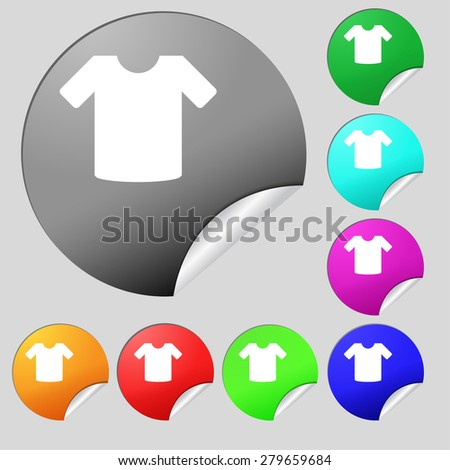 T-shirt, Clothes  icon sign. Set of eight multi-colored round buttons, stickers. Vector illustration - stock vector