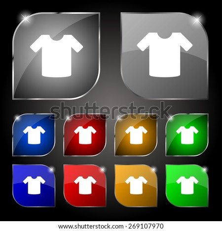 T-shirt, Clothes icon sign. Set of ten colorful buttons with glare. Vector illustration - stock vector
