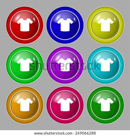 T-shirt, Clothes icon sign. symbol on nine round colourful buttons. Vector illustration - stock vector