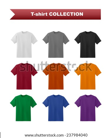 T-shirt colorful template collection, vector eps10 illustration - stock vector