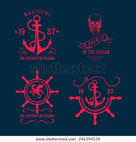 T-shirt design. Nautical marine, badge design. - stock vector