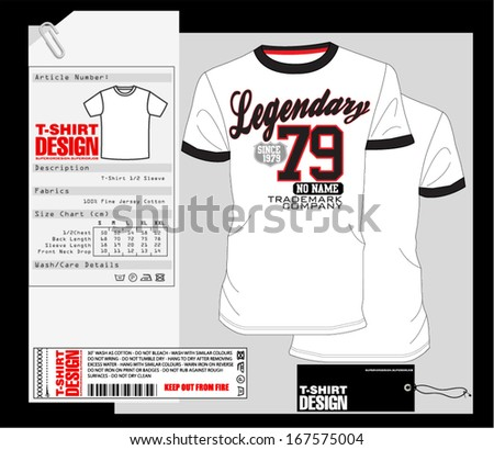 T-Shirt Design / Print Design / College - Varsity T-Shirt - stock vector