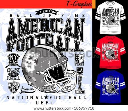 t-shirt design, vector graphics, sports graphics, american football - stock vector