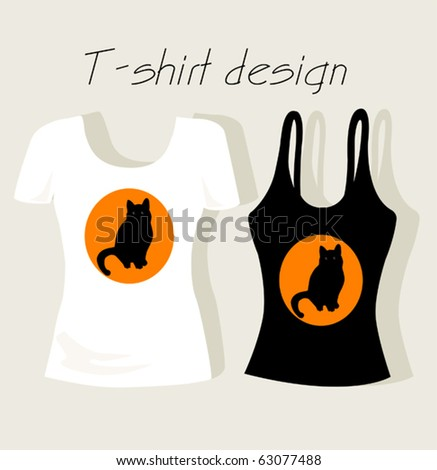 T-shirt design with black cat - stock vector