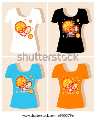 t-shirt design  with  oranges and hearts - stock vector