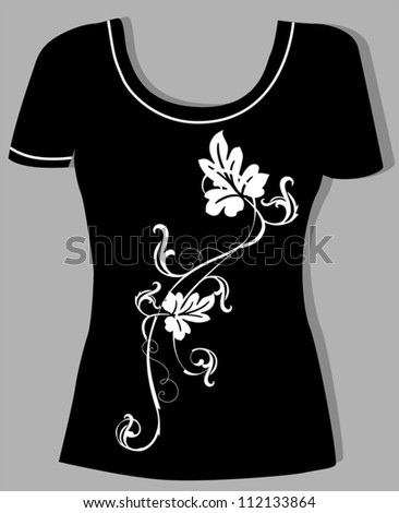t-shirt design  with  vintage floral element - stock vector