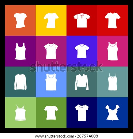 t-shirt fashion wear icon set - stock vector