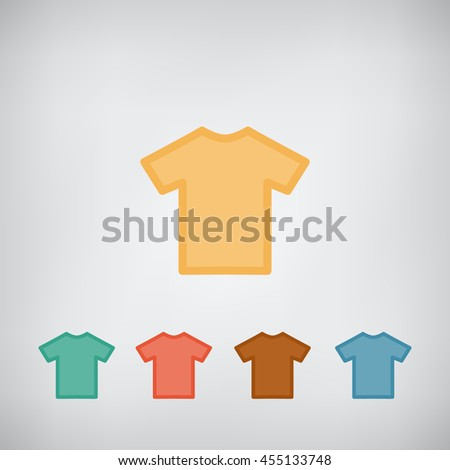 T-shirt flat simple blank icon vector. Clothes symbol. - stock vector