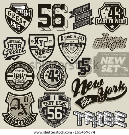 t-shirt graphic set 2 - stock vector