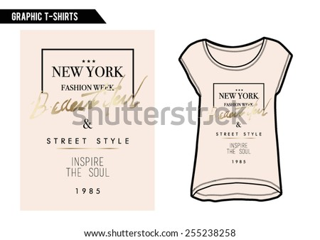 T-shirt graphic,slogan tee with gold foil and on t-shirt. - stock vector