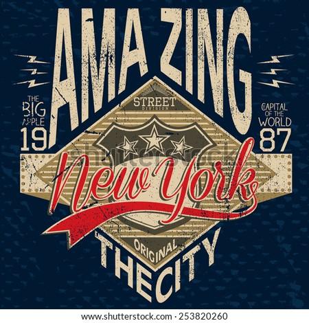 t-shirt graphics,amazing new york city - stock vector