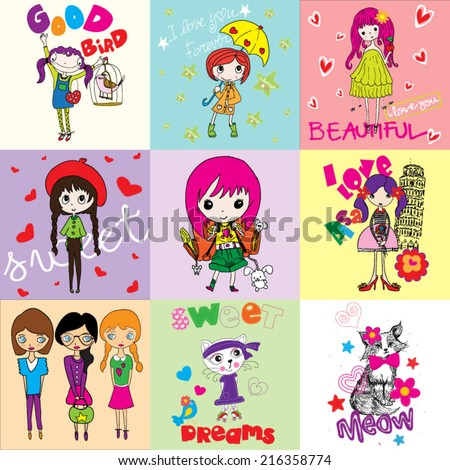T-shirt graphics / Cute illustrations for children / T-shirt design for textile printing / cute animal / typographic t-shirt designs / illustrations for children's books / Princess vector - stock vector
