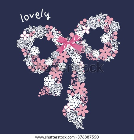 T-shirt Graphics / illustration cute ribbon - stock vector