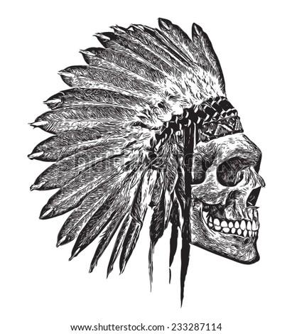 t-shirt graphics/Indian Headdress/skull illustration/skull poster/skull tattoo graphic/black and white skull and crossbones graphic - stock vector