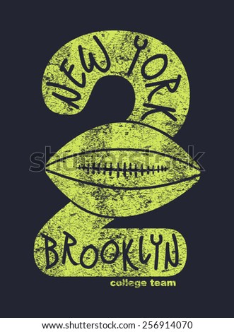 t-shirt graphics,union made,original brooklyn,College sport New York typography, vectors, - stock vector