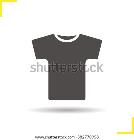 T-shirt icon. Drop shadow black t-shirt icon. Men and women casual t-shirt. Isolated t shirt illustration. Clothing shop t-shirt logo concept. Vector silhouette black t-shirt symbol - stock vector