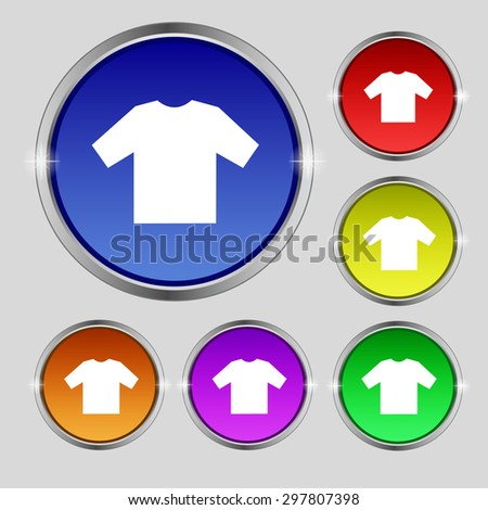 t-shirt icon sign. Round symbol on bright colourful buttons. Vector illustration - stock vector