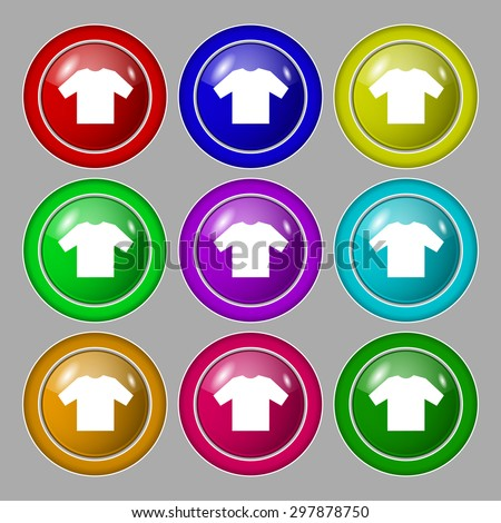 t-shirt icon sign. symbol on nine round colourful buttons. Vector illustration - stock vector