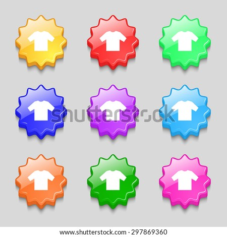 t-shirt icon sign. symbol on nine wavy colourful buttons. Vector illustration - stock vector
