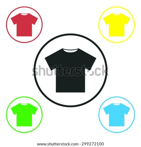 T-shirt icon, vector illustration. Flat design style - stock vector