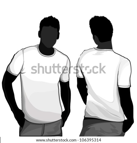 T-shirt men back and front. Men body silhouette. - stock vector