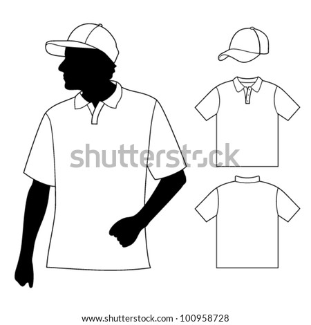 T-shirt. Men's polo shirt template with human body silhouette and baseball cap - stock vector
