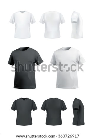 T-shirt mockup set on white background, front, side, back and perspective view. Vector eps10 illustration