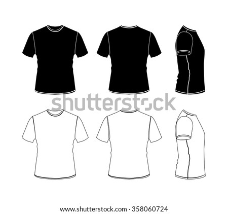 T-shirt outline icon collection, vector eps10 silhouette illustration isolated on white background, front, back and side views - stock vector