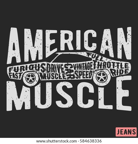 Tshirt print design american muscle car stock vector for T shirt printing and labeling