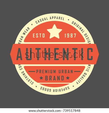 T-shirt print design. Authentic vintage stamp for denim, t shirt. Printing and badge, applique, label, t-shirts, jeans, casual and urban wear. Vector illustration.
