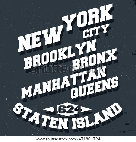 T-shirt print design. New York City vintage stamp, poster. Printing and badge, applique, label for t-shirts, jeans, casual wear. Vector illustration.
