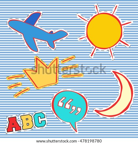 T-shirt print design. Patch fashion, vintage stamp. Printing and badge applique label t-shirts, jeans, casual wear. Sun, airplane, crown, moon and quote bubble. Vector illustration.