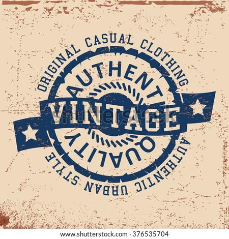 T-shirt print design. Urban vintage stamp, poster. Printing and badge applique label t-shirts. Vector illustration. - stock vector
