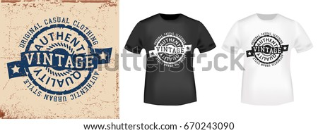 Tshirt print design urban vintage stamp stock vector for T shirt printing and labeling