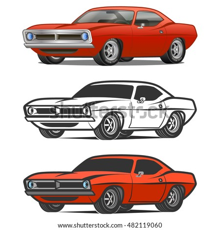 Side view of muscle car drawing