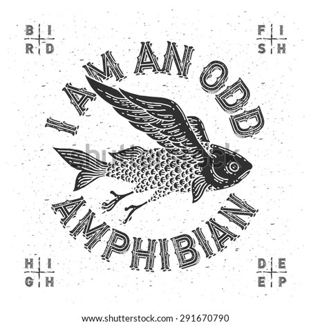 "T-shirt print with mythological flying fish and slogan ""I am an odd amphibian"" - stock vector"