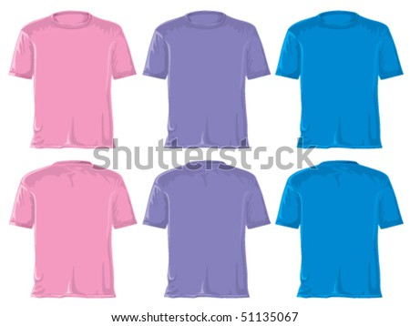 T-shirt set. Without gradients, great for printing. Blue, pink and violet. Vector. - stock vector