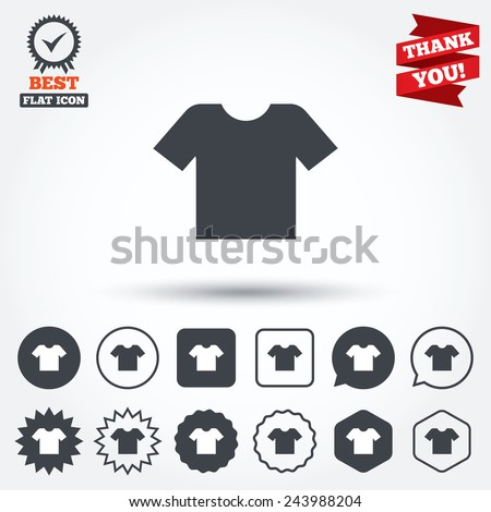 T-shirt sign icon. Clothes symbol. Circle, star, speech bubble and square buttons. Award medal with check mark. Thank you. Vector - stock vector