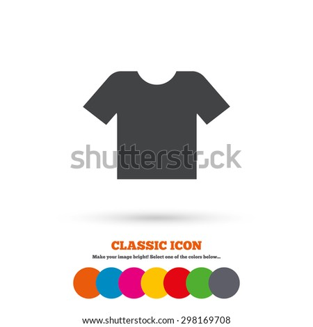 T-shirt sign icon. Clothes symbol. Classic flat icon. Colored circles. Vector - stock vector