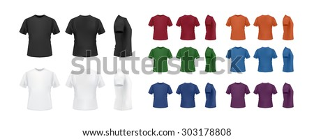 T-shirt template colorful set, front, back side view. Vector eps10 illustration. - stock vector