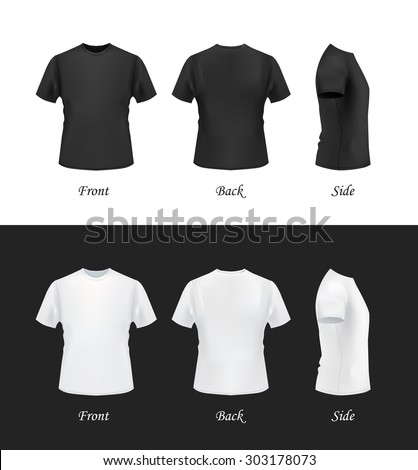 Tshirt Template Front Side Back View Stock Vector 303178073 ...