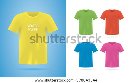 T-shirt templates. Colorful vector T-shirts isolated on background. T-shirt mockup. - stock vector