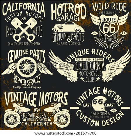 t-shirt,vintage logo sets for t-shirts - stock vector