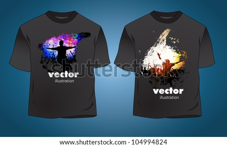 T-shirt with music event illustration - stock vector