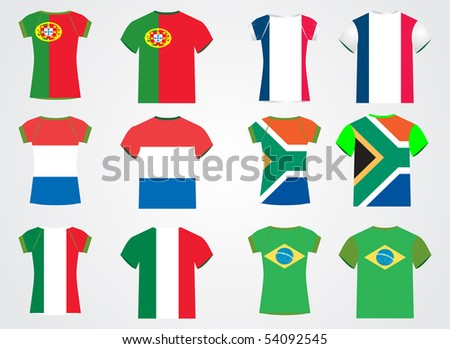 t shirt with national flag - stock vector