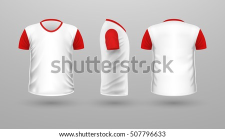 Tshirt Red Sleeve Template Set Front Stock Vector (2018) 507796633 ...